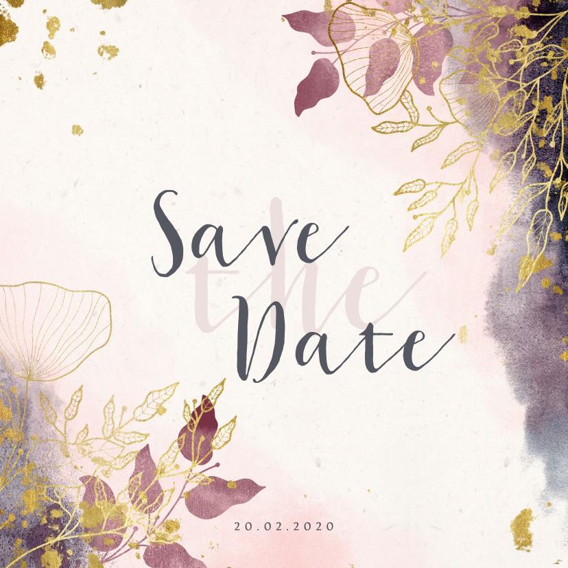 Trouwkaarten - Save the Date kaart stijlvol met waterverf en gouden bloemen