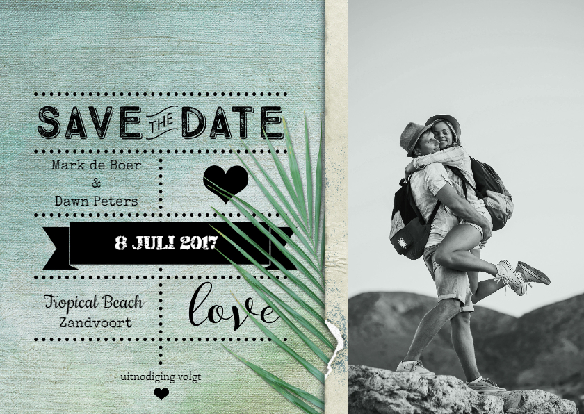 Trouwkaarten - Save the date kaart strand