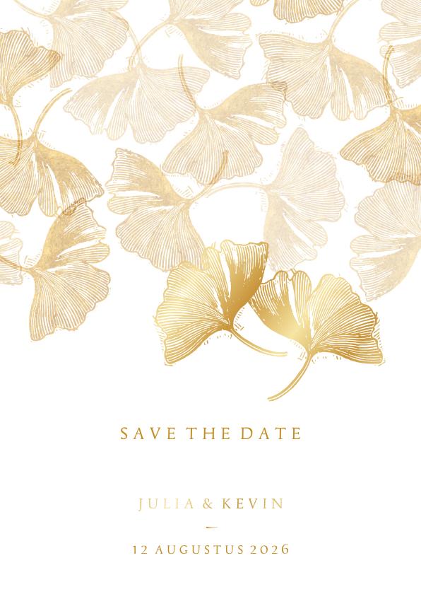 Trouwkaarten - Save the date kaart voor de bruiloft ginkgobladeren stempel
