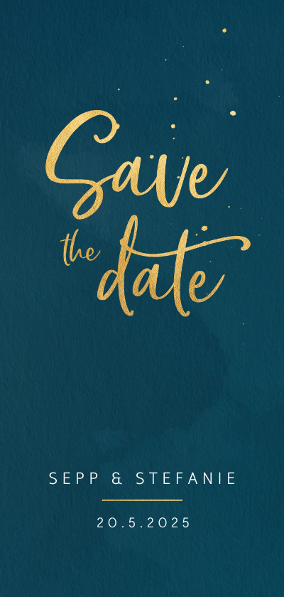 Trouwkaarten - Save the date kaart waterverf en spatten