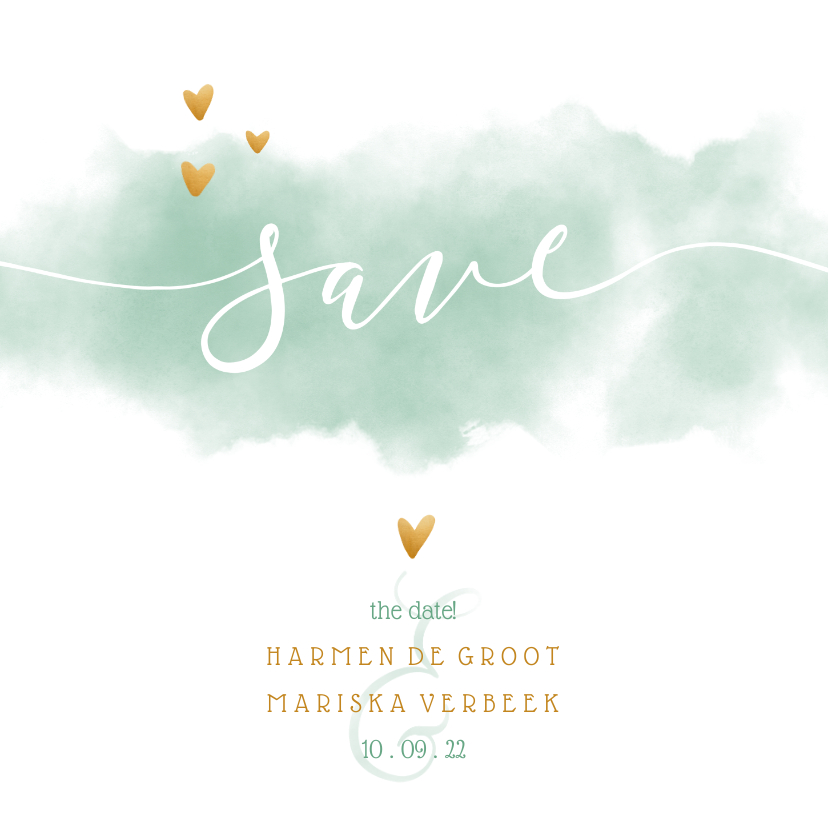 Trouwkaarten - Save the date kaart 'YES' met waterverf en gouden hartjes