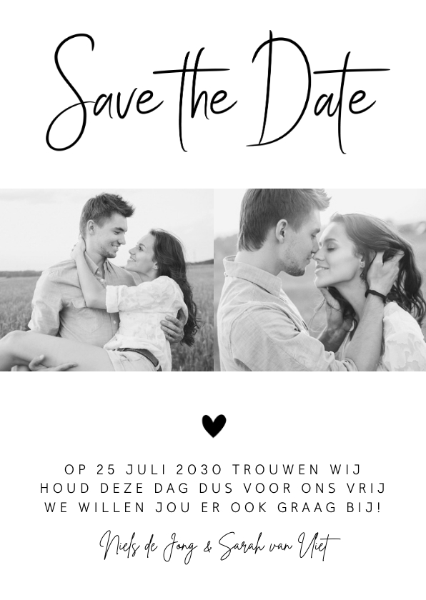 Trouwkaarten - Save the Date kaart zwart-wit foto hartje