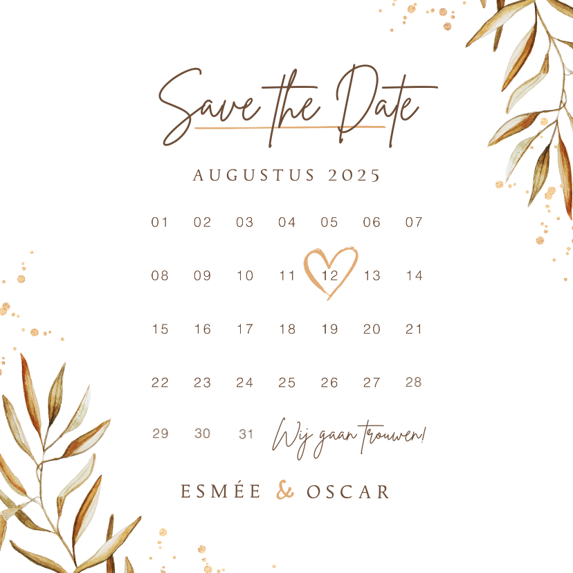 Trouwkaarten - Save the date kalender uitnodigingskaart goud takje