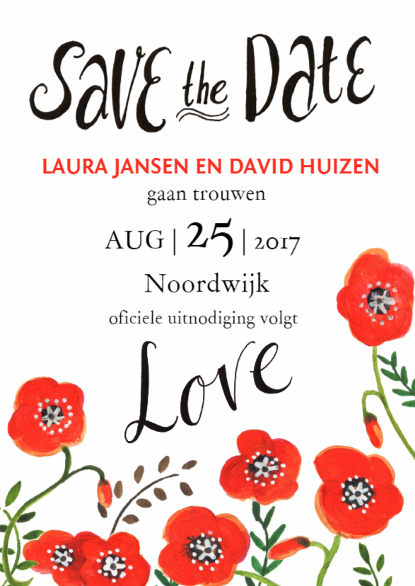 Trouwkaarten - Save the Date Klaprozen Elegant