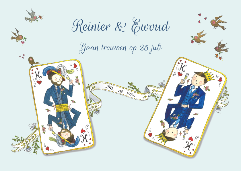 Trouwkaarten - Save the date koning & koning