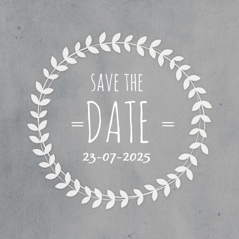 Trouwkaarten - Save the Date koren Grijs datum
