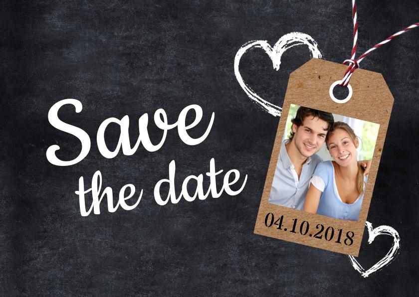 Trouwkaarten - Save the date krijtbord en foto
