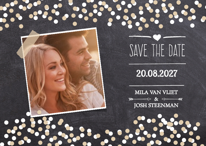 Trouwkaarten - Save the date krijtbord foto -DH