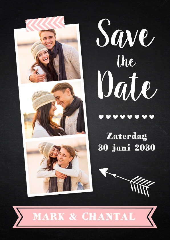 Trouwkaarten - Save the Date krijtbord fotocollage