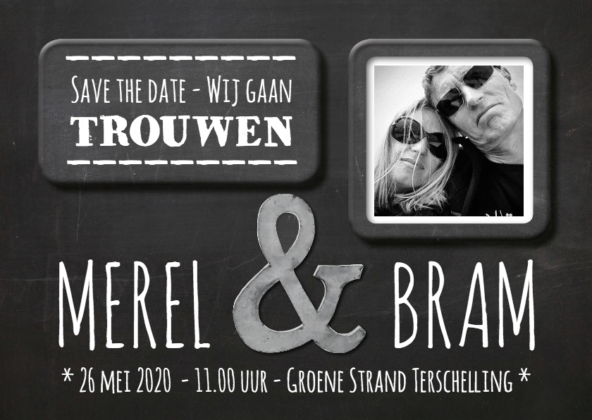 Trouwkaarten - Save the Date krijtbord - SG
