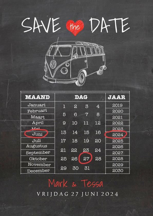 Trouwkaarten - Save the Date krijtbord vw busje