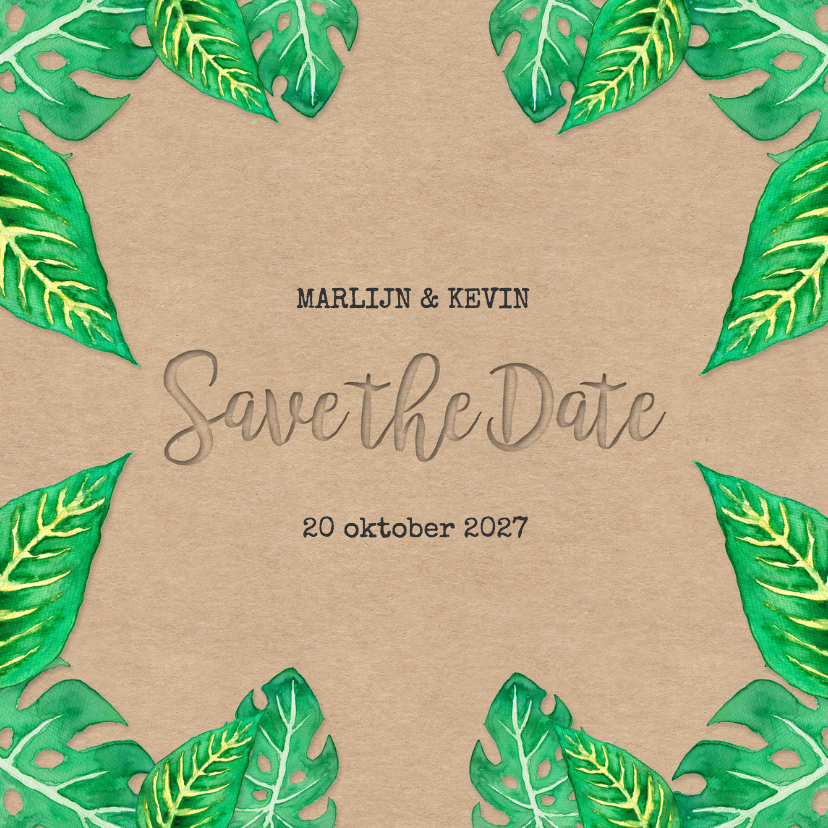Trouwkaarten - Save the Date Leaves - DH
