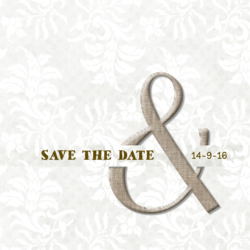 Trouwkaarten - Save the date Linnen & Damast