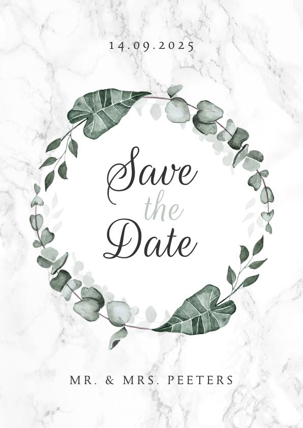 Trouwkaarten - Save the date marmer stijlvol klassiek eucalyptus