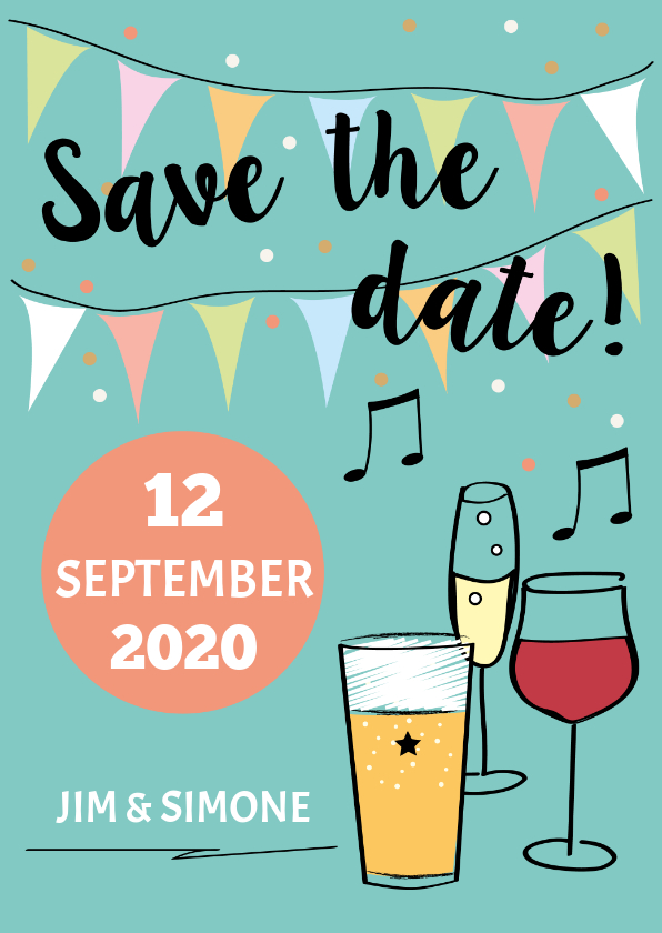 Trouwkaarten - Save the date met drank en namen