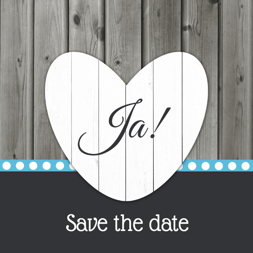 Trouwkaarten - Save the date met hart - DH