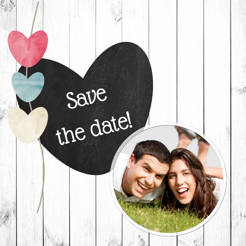 Trouwkaarten - Save the date met hout - DH