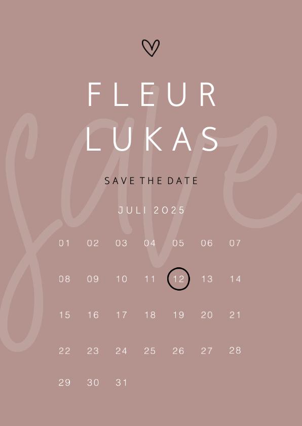 Trouwkaarten - Save the date minimalistisch met hartje kalender