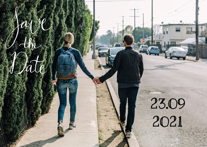 Trouwkaarten - Save the Date modern tekst - HR