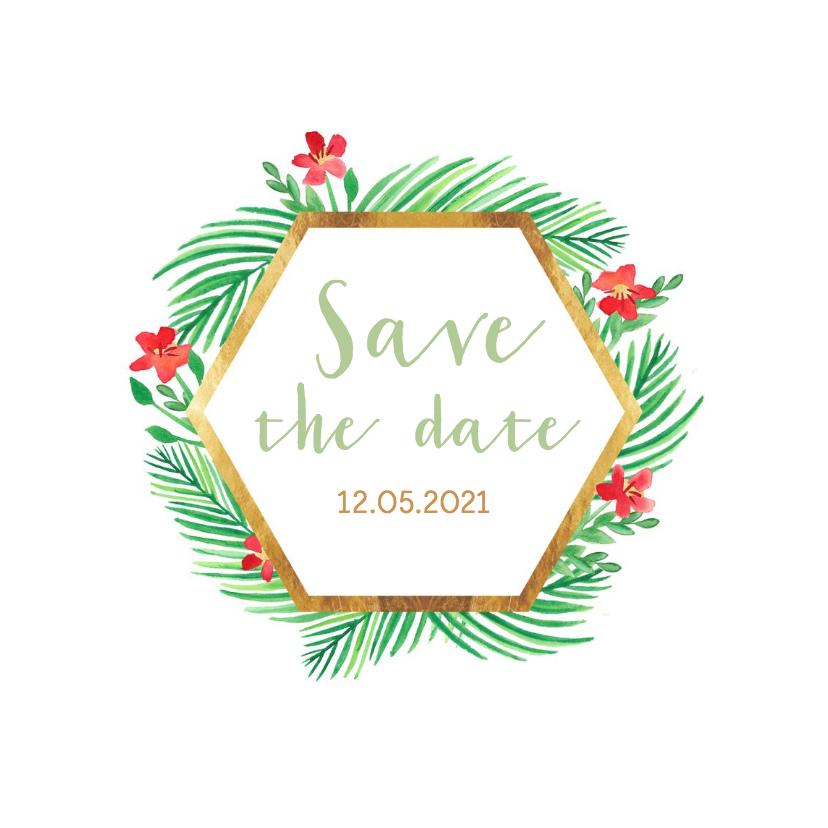 Trouwkaarten - Save the date natuur met goudlook