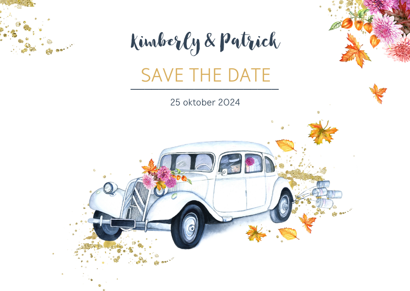 Trouwkaarten - Save the date oldtimer herfst