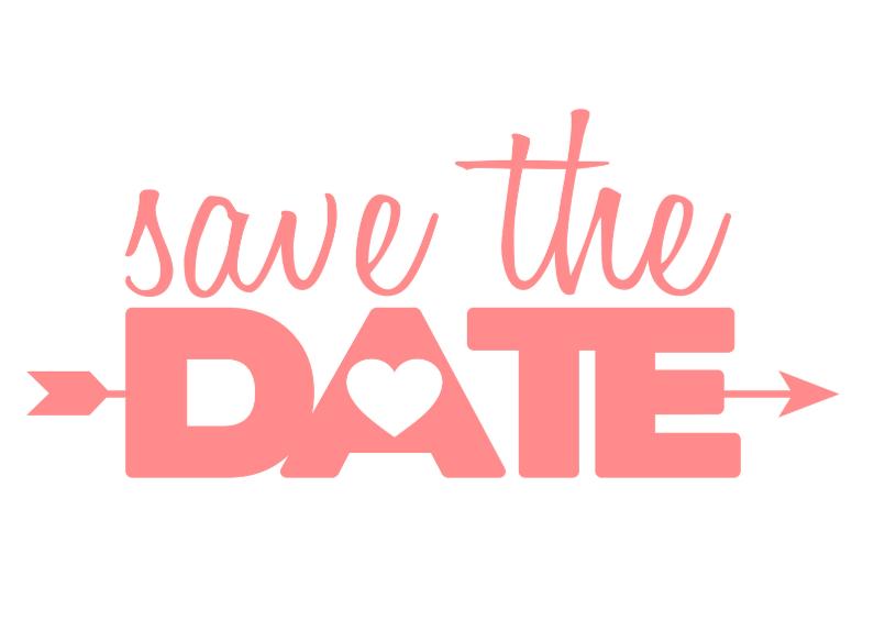 Trouwkaarten - Save the date pink typo