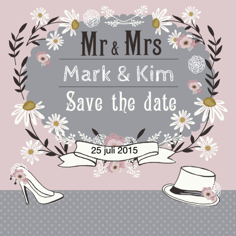 Trouwkaarten - Save The Date retro