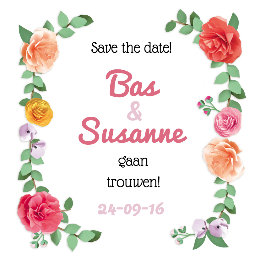 Trouwkaarten - save the date romantische rozen
