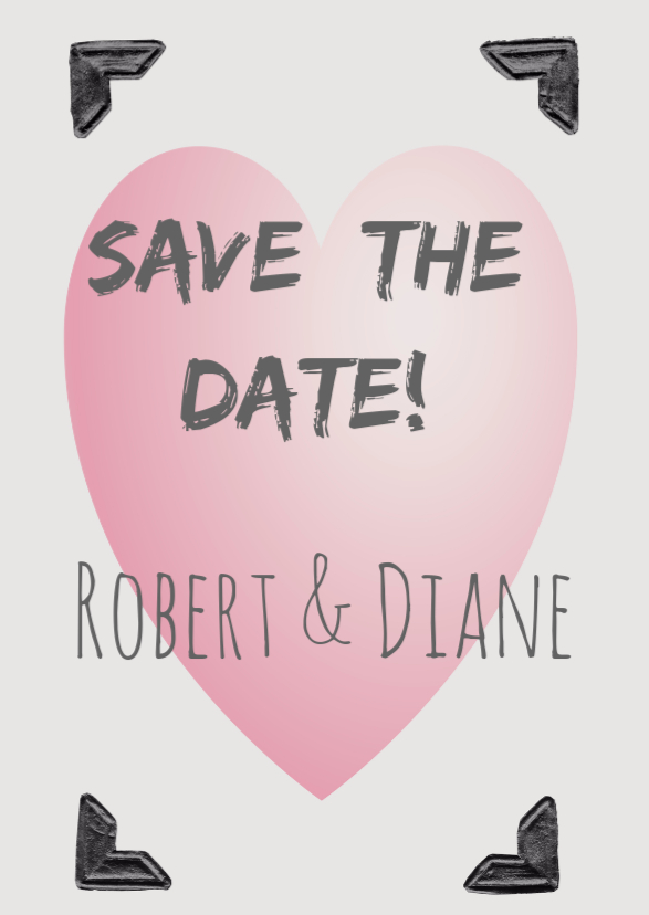 Trouwkaarten - Save the Date roze hart