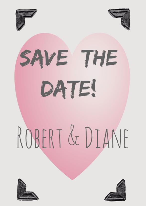 Trouwkaarten - Save the Date roze hart