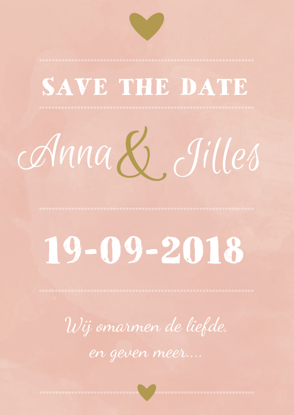 Trouwkaarten - Save the Date roze/oudgroen