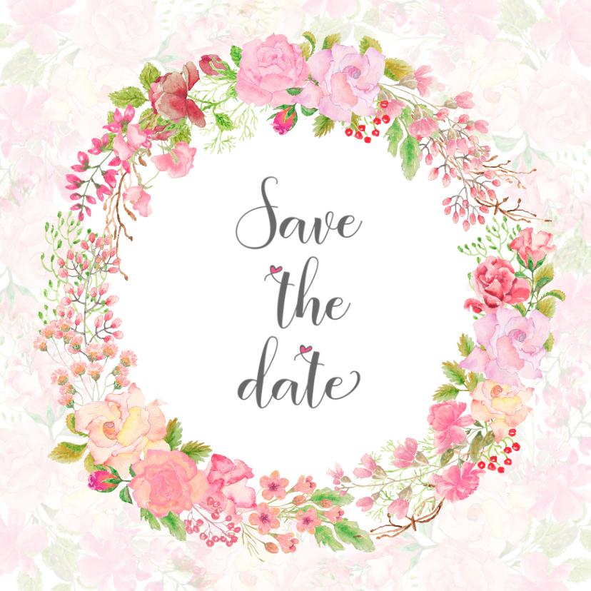 Trouwkaarten - Save the date rozen pastel