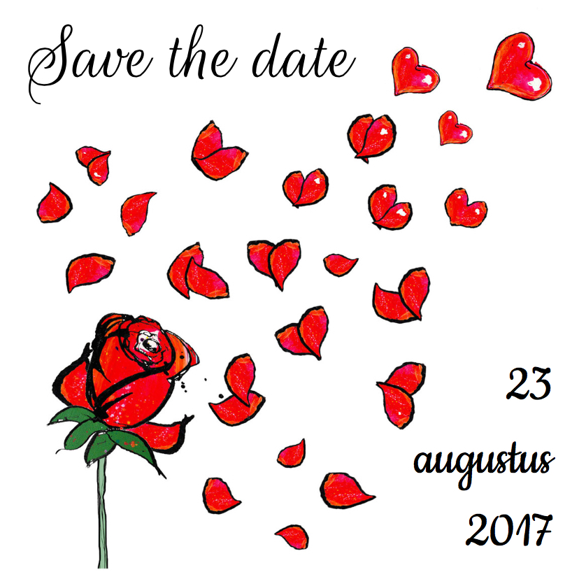 Trouwkaarten - Save the date rozen