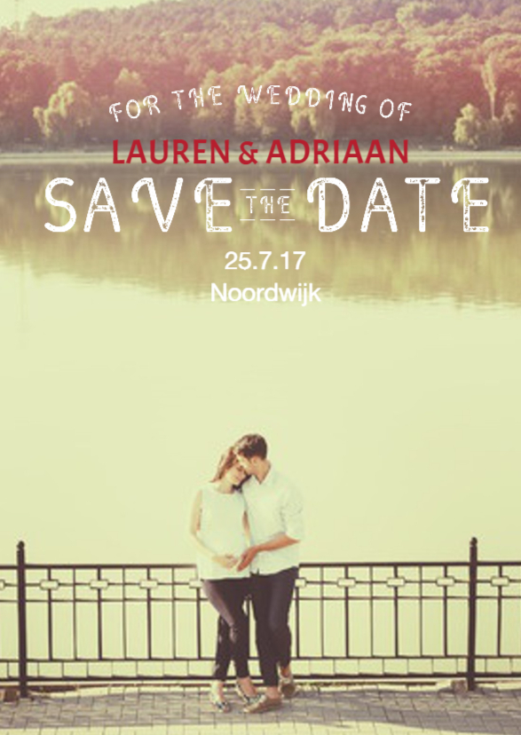 Trouwkaarten - Save the Date Rustieke letters