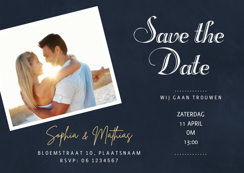 Trouwkaarten - Save the Date Schoolbord Hip