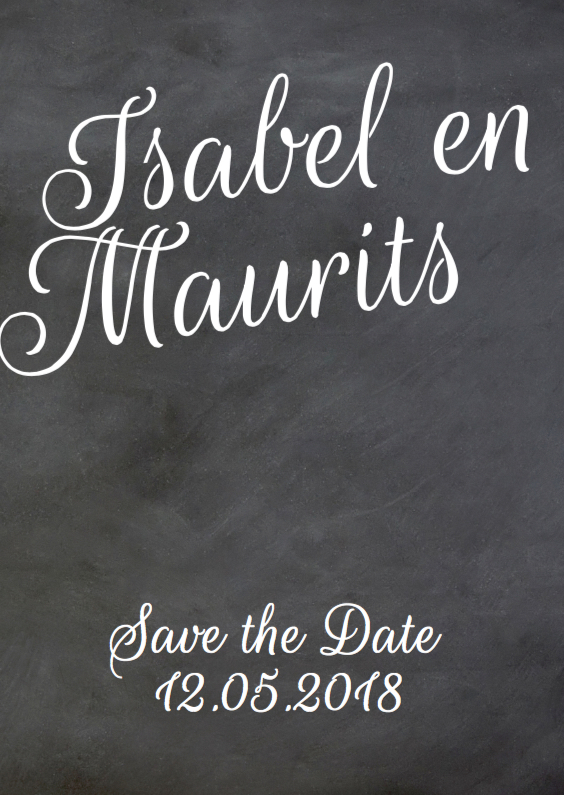Trouwkaarten - Save the date schoolbord print