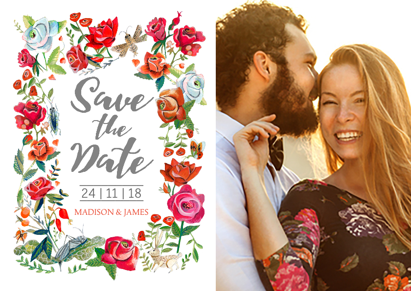 Trouwkaarten - Save the Date Secret Rose Garden