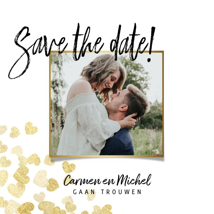 Trouwkaarten - Save the date stijlvolle kaart gouden hartjes en foto