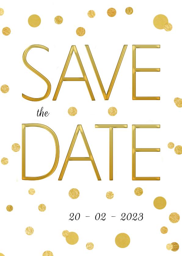 Trouwkaarten - Save the Date stip goud confetti