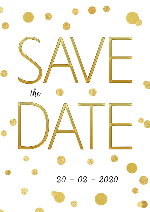 Trouwkaarten - Save the Date stip goud - SG