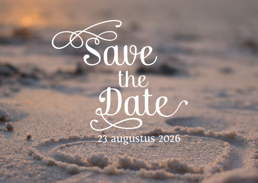 Trouwkaarten - Save the date strand met hart