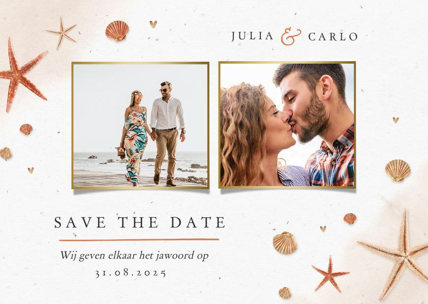 Trouwkaarten - Save the date strand zee schelpen zeesterren bruiloft