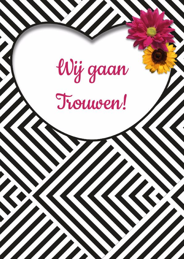 Trouwkaarten - Save the Date strepen - DH