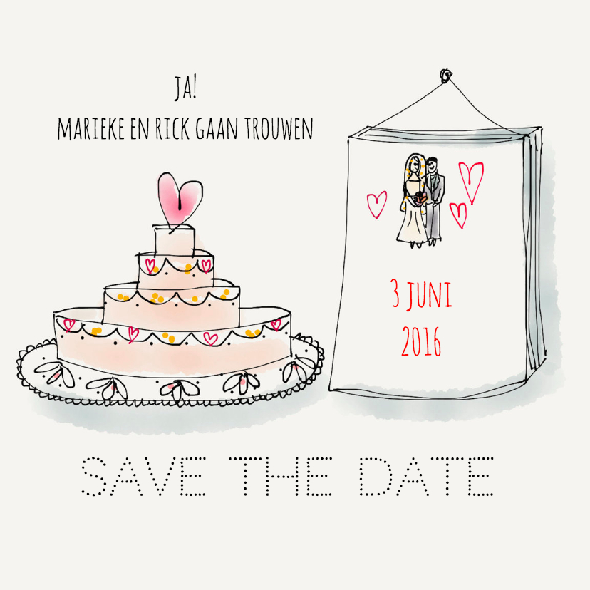 Trouwkaarten - Save the date Taart & Kalender