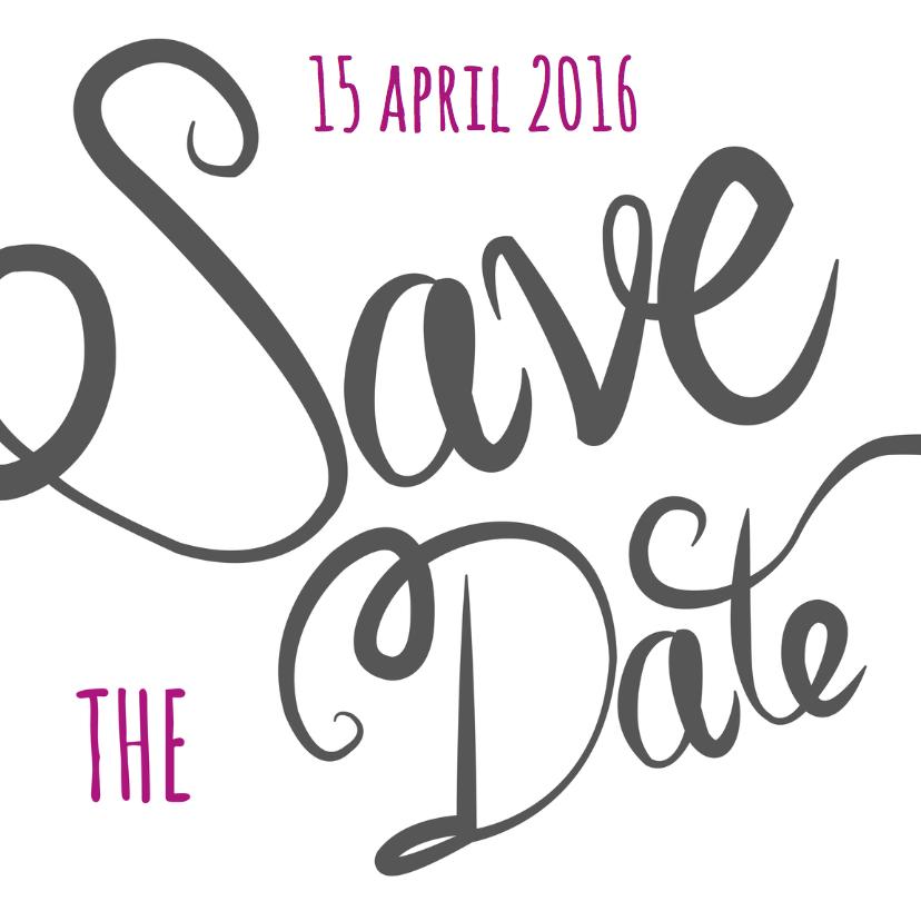 Trouwkaarten - Save the date - tekst grijs - MD