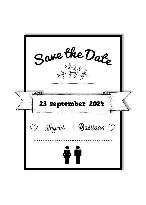 Trouwkaarten - Save the Date tekst kader  - HR