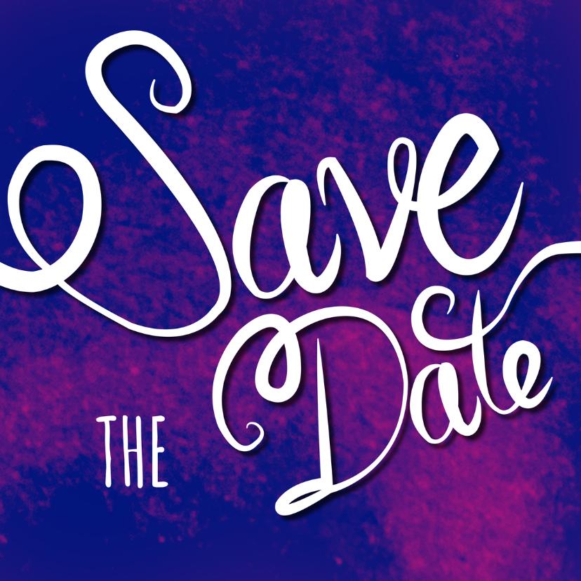 Trouwkaarten - Save the date - tekst paars - MD