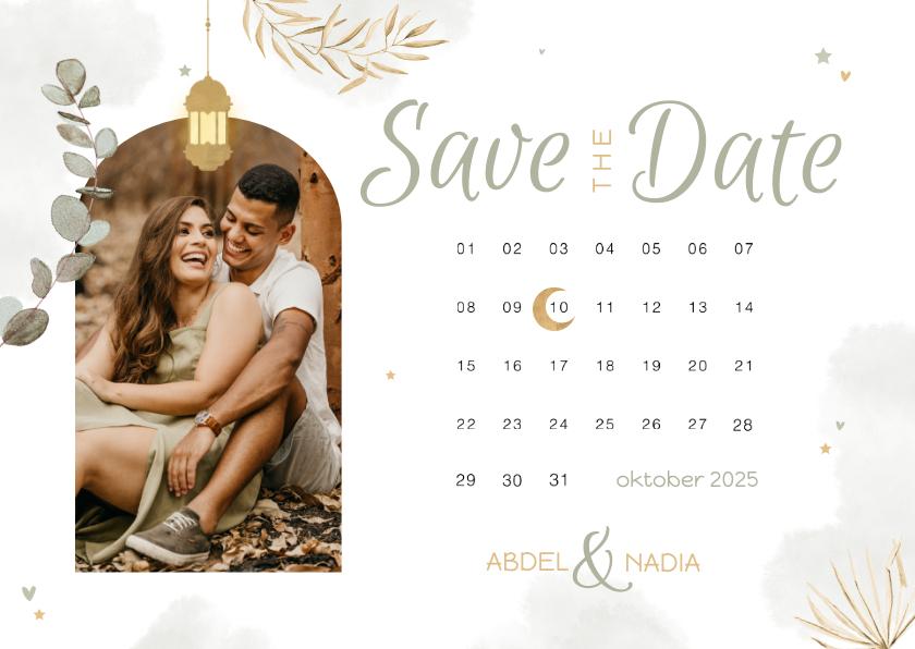 Trouwkaarten - Save the date Trouwkaart Arabisch kalender eucalyptus maan