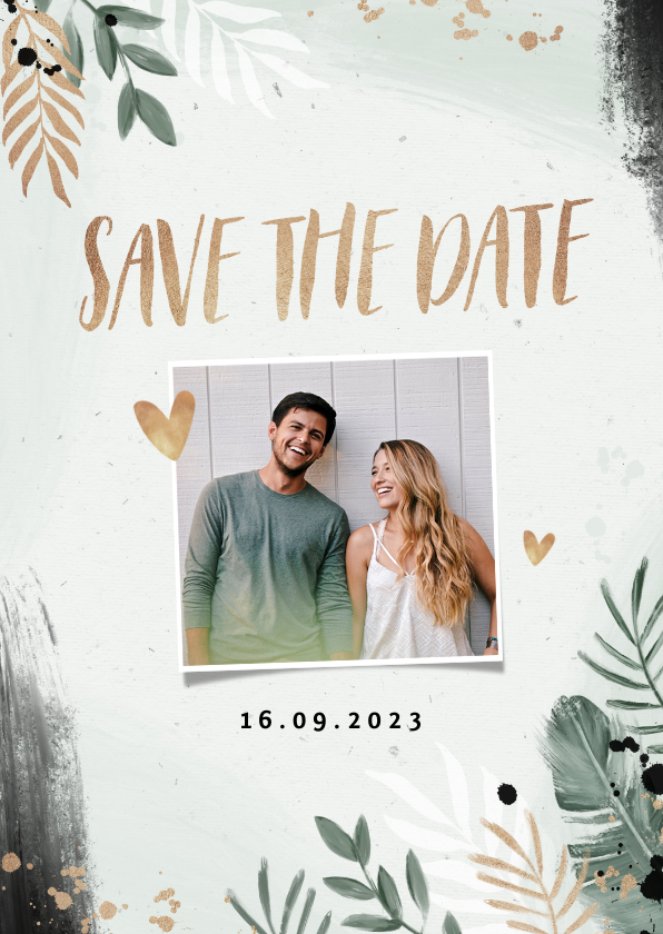 Trouwkaarten - Save the date trouwkaart botanisch goud waterverf