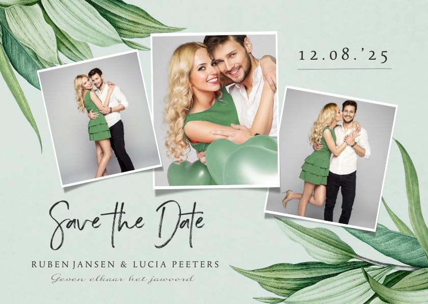 Trouwkaarten - Save the date trouwkaart botanisch groen bladeren stijlvol